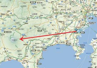 横浜から撮影方向を示す
